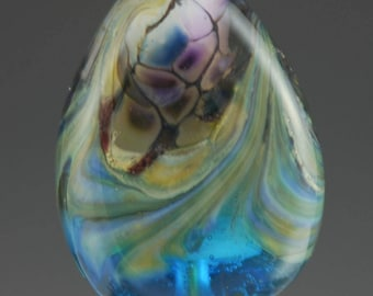 Water, Blue, Purple, Lampwork Focal Bead, Tammie Mabe, Artisan, Pendant, Handmade Glass Bead, Made in Texas, SRA, Necklace, Tabular