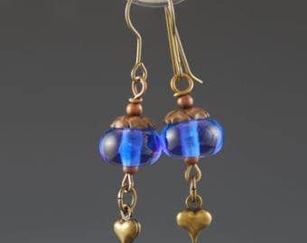 Lampwork Glass Beads, Blue, Artisan, Antique Brass, Tammie Mabe, Drop Earrings, Handmade Jewelry, USA, Gift for her, Hearts