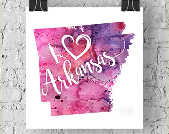 I Heart Arkansas Map Art Print, I Love Arkansas Watercolor Home Decor Map Painting, AR Giclee US State Art, Housewarming Gift, Moving Gift
