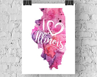 I Heart Illinois Map Art Print, I Love Illinois Watercolor Home Decor Map Painting, IL Giclee US State Art, Housewarming Gift, Moving Gift