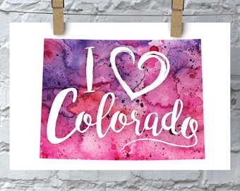 I Heart Colorado Map Art Print, I Love Colorado Watercolor Home Decor Map Painting, CO Giclee US State Art, Housewarming Gift, Moving Gift