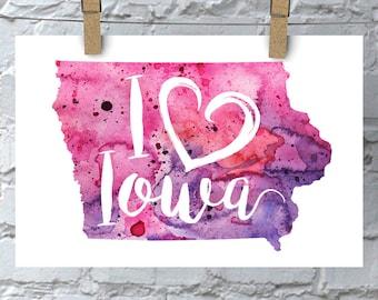 I Heart Iowa Map Art Print, I Love Iowa Watercolor Home Decor Map Painting, IA Giclee US State Art, Housewarming or Moving Gift, Hand Drawn