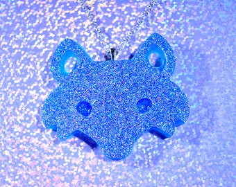 Blue holographic fox necklace