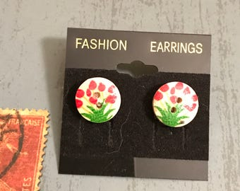 Small Flowers Button Post Earrings