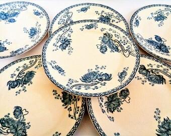 French Serving Plates, ROYAT U&C SARREGUEMINES, Set of 6, Céramique française, French antique dish, Set of 6 antique French plates, 19s