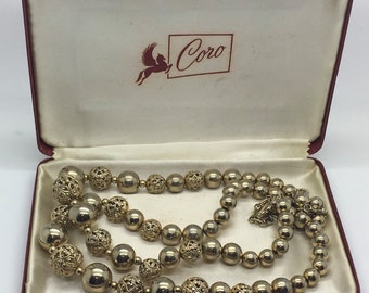 "Vintage Coro Gold Tone Doublestrand Filigree Bead Necklace Choker Designer Signed Coro 14 "" Plus 3 "" Extention With Original Box Case"
