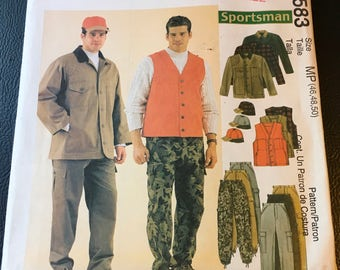 McCall's Sewing Pattern  2815  Men's Pants Loose Fitting Cargo Drawstrings Casual Wear Outdoors Hunter Camping Size 34 36 38 Uncut FF