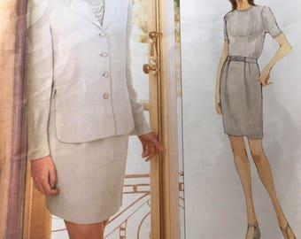 Vogue 1722 Sewing Pattern Anne Klein Misses Jacket & Skirt Semi Fitted Fully Interlaced Hip Length Size 6 8 10 New Uncut