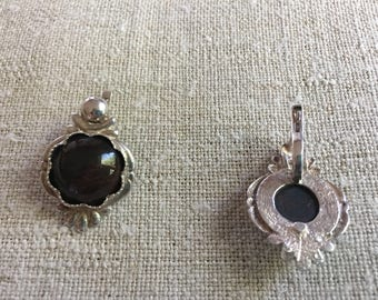 Soviet era Ussr sterling silver earrings with natural stone