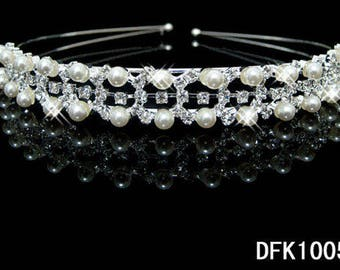 Silver Plated Crystal Wedding Bridal Headband Tiara Hair Band Diamante DFK1005