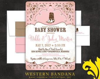WESTERN BANDANA . baby shower invitation