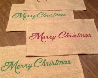 Merry Christmas, Christmas Placemat, Burlap Placemats, Burlap Placemat, Placemats, Rustic Placemats, Christmas Decor, Table Linens,