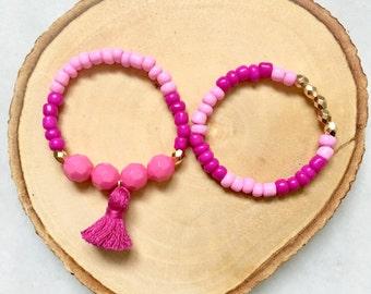 Baby Bracelet, Baby Jewelry, Tassel Bracelet, Baby Shower Gift, Blessing Bracelet, Baby Gift, Baby Bracelet--PINK OMBRE