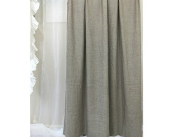 White Linen Shower Curtain With Grey Ticking Stripes 4 Rows Of