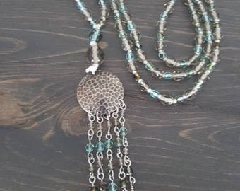 Long bohemian tied necklace,  Czech glass beads , pewter, tassel