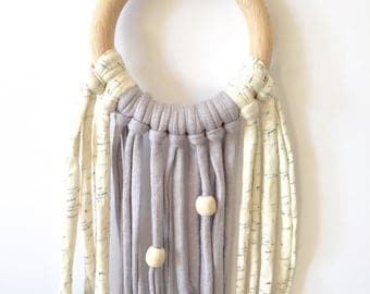 100% Natural eco-cotton dream catcher (Light Grey) - Also available in Yellow & Light Grey - Eco-Friendly Baby - Home Decor - Baby Nursery