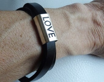 Men leather bracelet men with Love slider - double wrap leather band