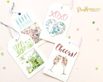 Celebration Gift Card Holder Set 1 - Shaker Gift Cards - Foil - Custom - Birthday Gift Card - Baby Shower Gift Card - Unique Gift Wrapping