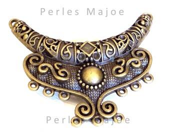 Connecteur pendentif décoré couleur bronze