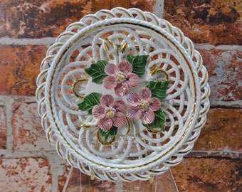 Vintage beautiful latticed wall plate with roses
