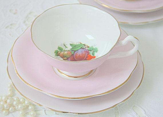 Set of Two Vintage Springfield Bone China Pink Tea Trio, Cups and Saucers and Pastry Plates, Fruit Decor, England