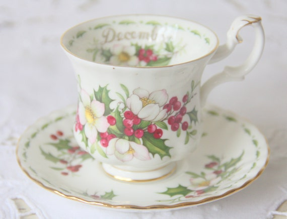 Vintage Royal Albert Bone China 'Flower of the Month' series' 'Christmas Rose' Lady Size Cup and Saucer, December
