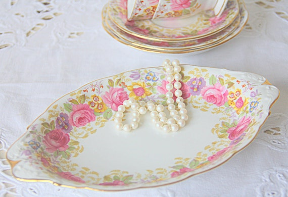 RESERVED FOR JASMINE Vintage Royal Albert 'Serena' Small Candy Tray, Sugar and Creamer Tray, Pink Multicolored Flower Design, England