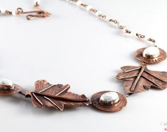 Handmade Copper Necklace With Moonstones