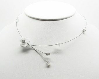 wire flower Choker necklace leather and swarovski beads assorted colors