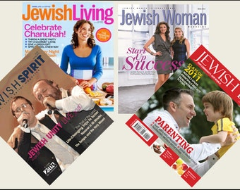4 Miniature   'JEWISH'   Magazines  -  Dollhouse 1/6    1/12    1/24    1/48   play  scale miniature