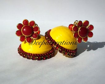 Quilling earrings-yellow with red flower studs