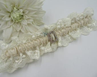 Bridal Wedding Garter - Ivory Lace with Champagne Satin and Diamante Buckle