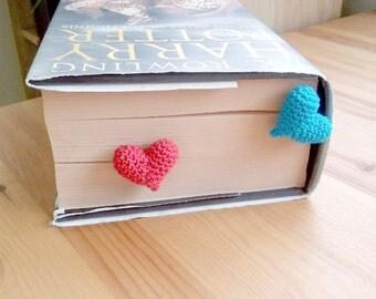 Handmade Crochet BookMark,Book Lovers Gift, 3D Heart Amigurumi,Heart Segnalibri,Book Club, Book Worm ,Book Nerd,Gift ideas For Book Lover