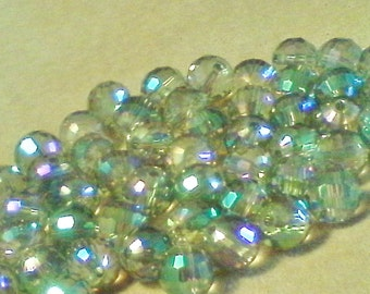 Round faceted glass beads; clear green iris, faceted glass disco ball beads, 8mm, 10pcs/1.60.