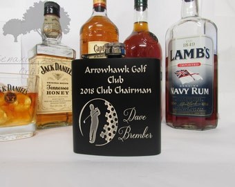 Personalised 6oz Hip Flask, Golf ball design Perfect Gift for Birthdays, Anniversaries, Stag do's and Weddings and sports awards (BF23)