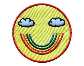 Iron-on rainbow smiley patch