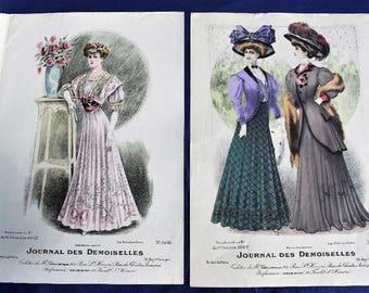 Handcoloured Fashion Print, Journal des Demoiselles, Mode de Paris 1907 x 2