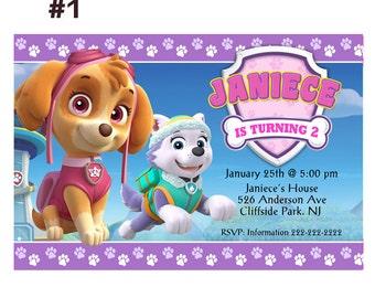 Girl Paw Patrol personalized Birthday Invitation - Printable or Printed