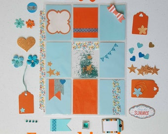 Free shipping. Pocket letter inspiration kit. Orange and blue tones. All items included. Ready to go.