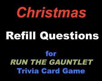 Printable Christmas Trivia Card Game, Christmas Trivia Flash Cards, Run the Gauntlet Game Refill Cards, Question cards only
