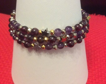 Three strand multi gem bracelet
