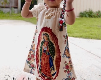 Virgen de Guadalupe Dress, Virgin Of Guadalupe Dress, Peasant Dress, Baby Dress, Virgencita Dress, Virgin Guadalupe, Ruffle Dress