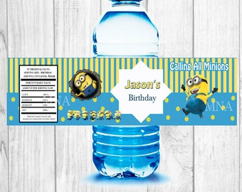 Minions  water bottle labels,  Printable personalized Water Bottle Labels 2x8 inches minions birthday party!