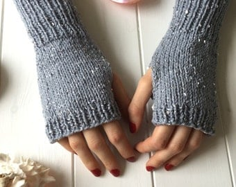 READY KNIT - Fingerless gloves- acrylic yarn - silver grey