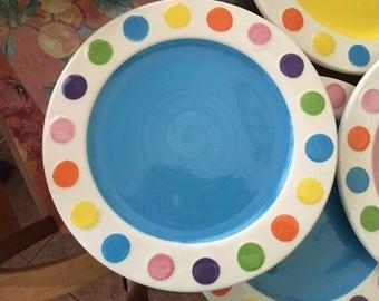 dinnerware, dinner plates, colorful dinnerware, polka dot dinnerware, whimsical dinnerware, Easter dinnerware, Easter plates