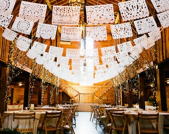 """PAPEL PICADO """"Mexican Wedding - Personalised in White"""" 