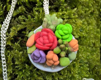 Miniture Succuclent Garden Necklace lovely gift for Mothers Day