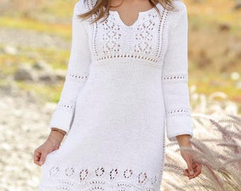 Knitted dress with lace pattern and 3/4 sleeves in cotton, summer dress, women knitwear, handmade knitwear