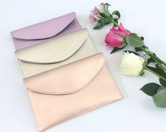Leather Wristlet Pouch.Envelope leather bag.Leather clutch.Bridesmaid leather bag purse clutch.Metallic rose gold pouch.Ready to ship.