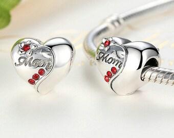 Sterling 925 silver charm heart mom bead pendant fits Pandora charm and European charm bracelet